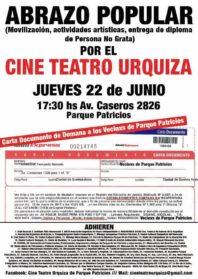 Luego del intento de intimidación, los vecinos del Cine Teatro Urquiza convocan a un Abrazo solidario