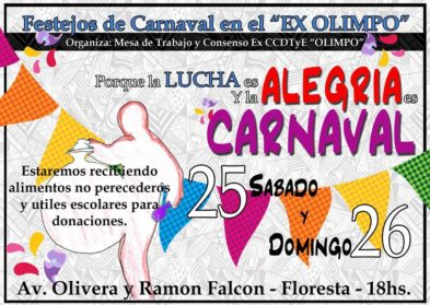 Este fin de semana se realiza el cuarto Festejo de Carnaval en el ex Olimpo