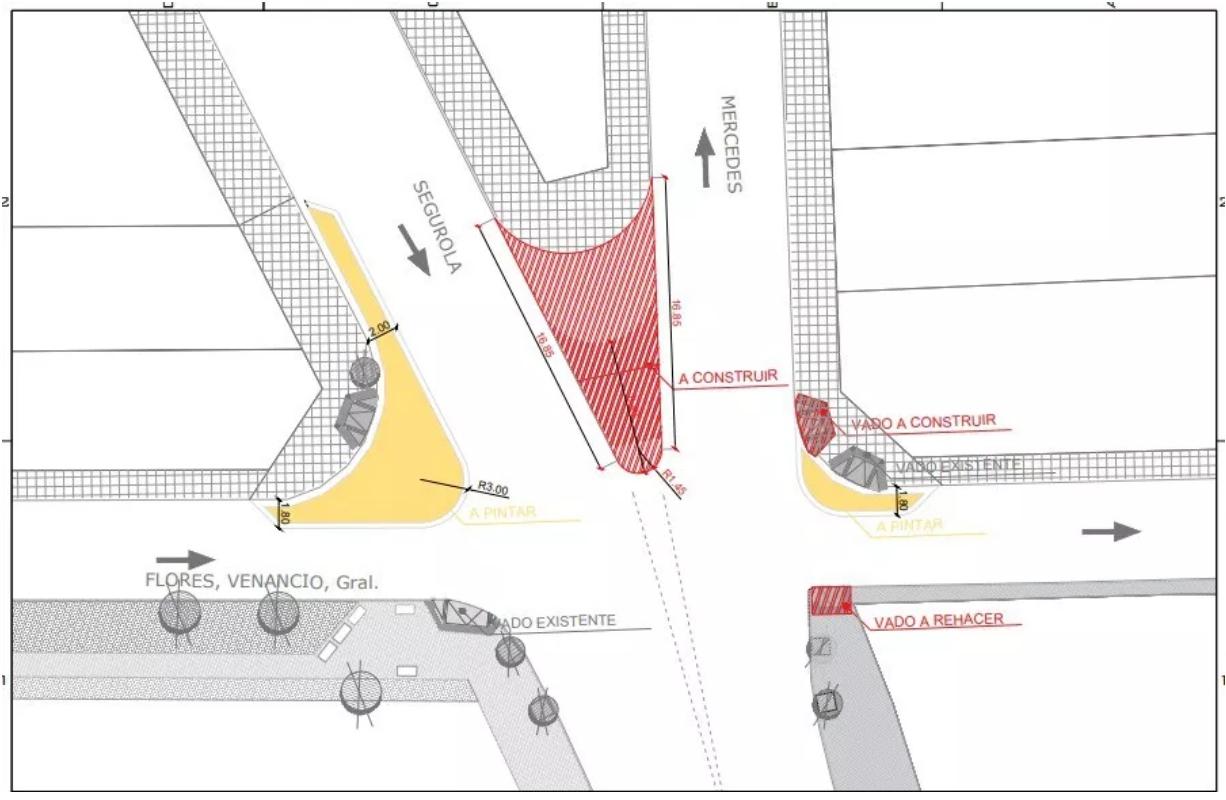 Modificarán el cruce de Segurola y Venancio Flores para proteger a los peatones